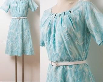 Vintage Blue Dress, 60s Dress, Vintage blue dress, Mad Men Dress, Cut out dress, Aline dress, 60s blue dress, Abstract dress - M/L