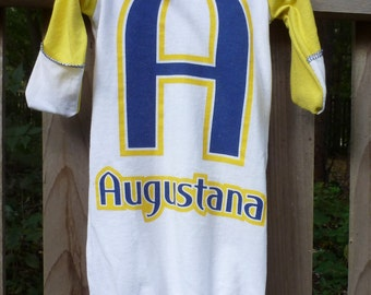 Augustana University Baby Clothing Vikings Upcycled/recycled t-shirt infant sleep sack/gown newborn - 3 months