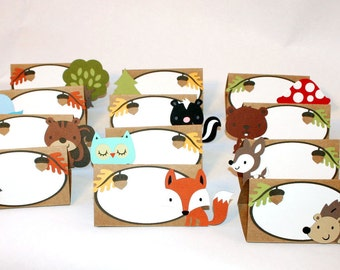 Woodland Place Cards / Woodland Food Tents