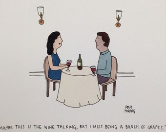 "Wine Cartoon - 8""x10"" Art Print"