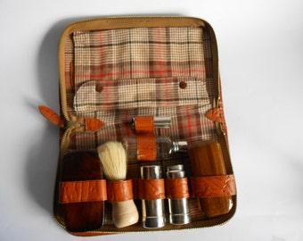 Vintage  Travel Shaving Set, Brown Leather Case,VintageTravel Kit, Men's Kit, Genuine Leather Grooming Case, Vintage Men's Shaving Kit