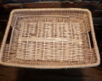 Vintage Basket Tray Basket Tray Breakfast Tray Food Tray Wicker Home D Cor Basket Home D Cor