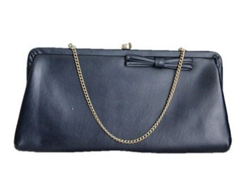 Vintage Navy Handbag Clutch with Bow and Gold Chain Handle / Retro Evening Bag / 1980s / Great Condition
