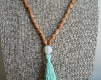 SALE Long wood bead necklace with green silky tassel, layering necklace, beach chic, boho style, glass bead, summer fashion