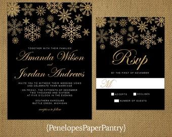 Elegant Snowflake Wedding Invitation,Black,Gold,Gold Snowflakes,Black and Gold,Shimmery,Romantic,Traditional,Custom,Printed Invitation