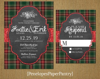 Christmas Wedding Invitation,Christmas Plaid,Red,Green,Red Glitter Print,Chalkboard,Rustic,Romantic,Printed Invitation,Wedding Set,Opt RSVP