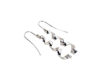Emma, hanging earrings silver spiral earrings