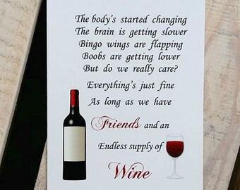 Friend Gift, Friendship Gift, Friend Birthday Gift, 7x5 print, Friend print, Print for Friend, Gifts for friends, wine and friend