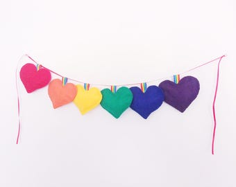 Rainbow Heart Garland