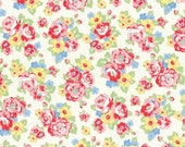 Retro 30's Child Smile Floral Bouquet fabric in White from Lecien #31444-10 Fall 2016