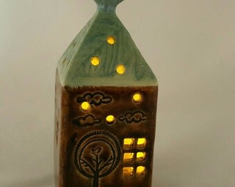 Luminaries, ceramic house luminary, pottery house candle holder, clay house,pottery anniversary, housewarming gift, garden house luminary