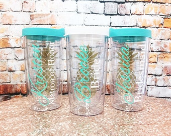 Bridal Party Pineapple Tumbler - Personalized Tumblers - Pineapple Tumblers - Bridal Party Gifts - Bachelorette Party Favors