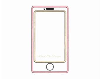 iphone Applique Design Smart Phone Embroidery Design Instant Download