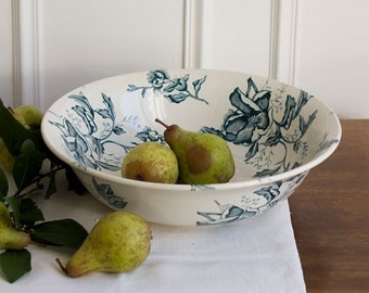 French Rose de Noël Transferware Bowl