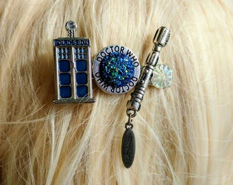 Doctor Who Collage Hair Clip