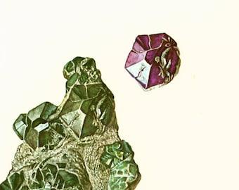1970 Chrysoberyl. Alexandrite. Semiprecious Stones. Vintage geology Illustration.