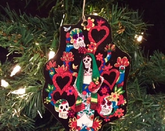 Day of the Dead Handmade Wooden Ornament