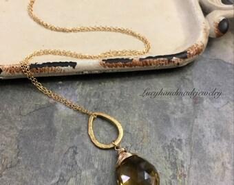 Whiskey Quartz Dainty Necklace