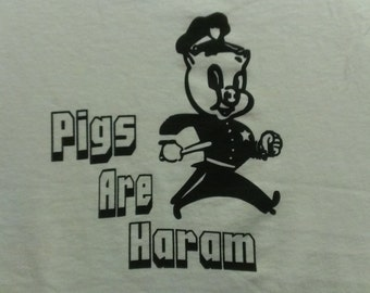 Long Sleeve Pigs Are Haram Screen Print T-shirt in Mens or Womens Sizes S-3XL