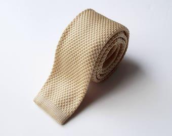 Beige Knit Neck Tie, Men's Neck Tie