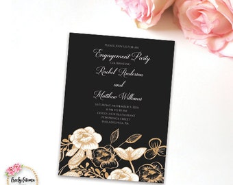 Black and Gold Floral Engagement Party Invitation