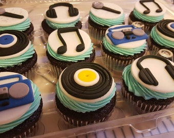 Edible Music Rock & Roll Cupcake Toppers