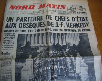 Former french newspaper, 26 November 1963, John Fitzgerald Kenndy, original diary to death