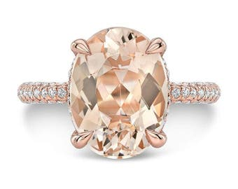 3.65 Ct. Brilliant Oval Cut Morganite Solitaire Engagement Ring on 14K Rose Gold with Diamonds