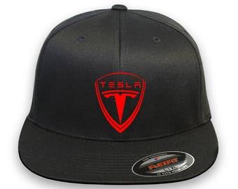 TESLA Auto Model 3 Model S Flex Fit Hat **FLAT Bill**  ***Free Shipping in BOX***
