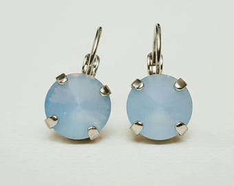 Blue opal round silver earrings, opaque blue crystal earring, wedding earring, bridesmaid gift, something blue, powder blue crystal earring