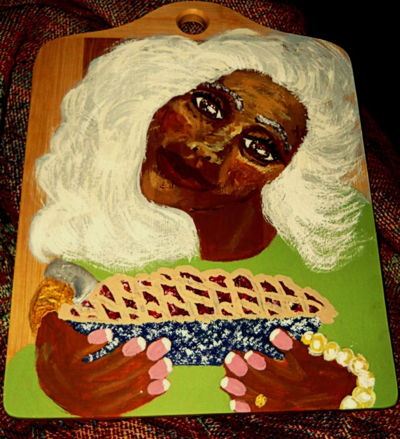 "Acrylic Painting of a Woman With a Pie on a 10 x 13"" bamboo cutting board, ""TRY ME!"" Outsider Folk Art, by Folk Artist Stacey Torres"
