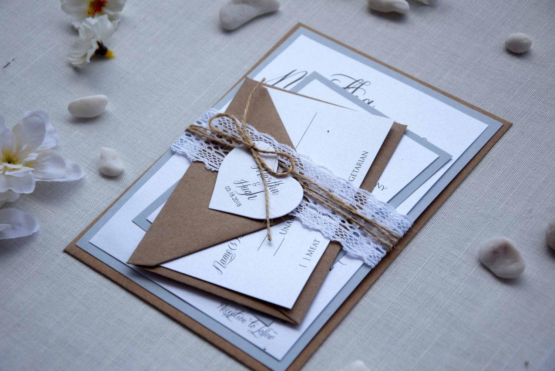 Wedding Invitations Kit: Rustic Chic Wedding Invitation Kit Grey Wedding Invitation