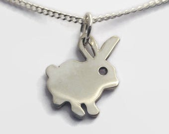 Tiny Sterling Silver Rabbit Necklace - Animal Jewelry, a Bunny Rabbit Charm in Sterling Silver on a delicate curb chain