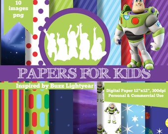 Digital Papers, Buzz Lightyear, Toy story, Superhero, Boys, Backyardigans, Clipart, Papers for kids