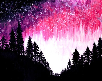 Solar Flare , wall art, wall decor  , print , forest, woodland , nature, colorful , bright , nightsky , gift