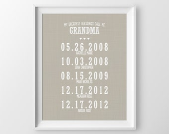 Mothers Day Gift For Grandma Gift For Nana Personalized Gift For Grandmother Grandparents Gift Grandchildren Names Gift From Grandchildren