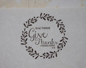 Give Thanks Stationery, Letter Writing Set, Stamped Stationery, Bible Verse Gift, Thanksgiving Card, Thanksgiving Gift, In All Things Give