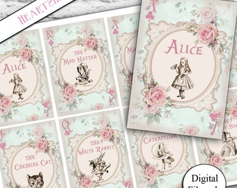 8 Digital Alice In Wonderland Playing Card Gift Tags - Toppers,Download,Printable,Wedding,Tea Party