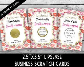 LIPSENSE Inspired SCRATCH Off Cards - LIPS & Gold Dots, Direct Sales Inspired, Rewards, Business Stationery, Thank You Scratch Cards
