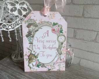 1 Giant A4 Alice in Wonderland Merry Un-Birthday Gift Tag, Party Decoration,
