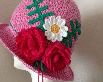 Summer crochet panama flapper hat with flowers