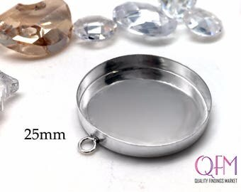 3 pcs Sterling Silver 925 Round Bezel cup 25mm with one loop - Jewelry Basis, Silver Pendant Basis, Silver Bezel Cup