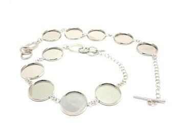 2 bracelets Silver 5 supports Cabochons 20 mm