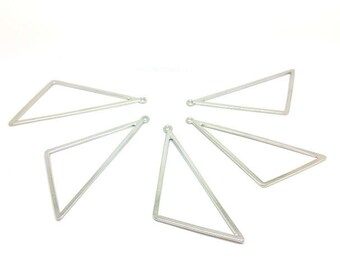 10 charms 72x30mm silver gray Triangle shape