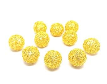 10 balls Twist 24mm gold beads
