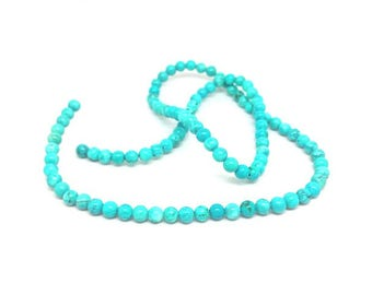 92 round Turquoise beads natural 4mm