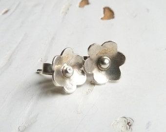 Sterling Silver Flower Stud Earrings, Daisy Earrings, 925 Blossom Earrings, Boho earrings