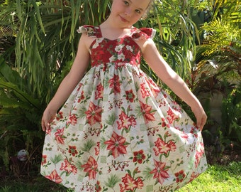 Girls Christmas Inspired Double Flutter Sleeve Dress.