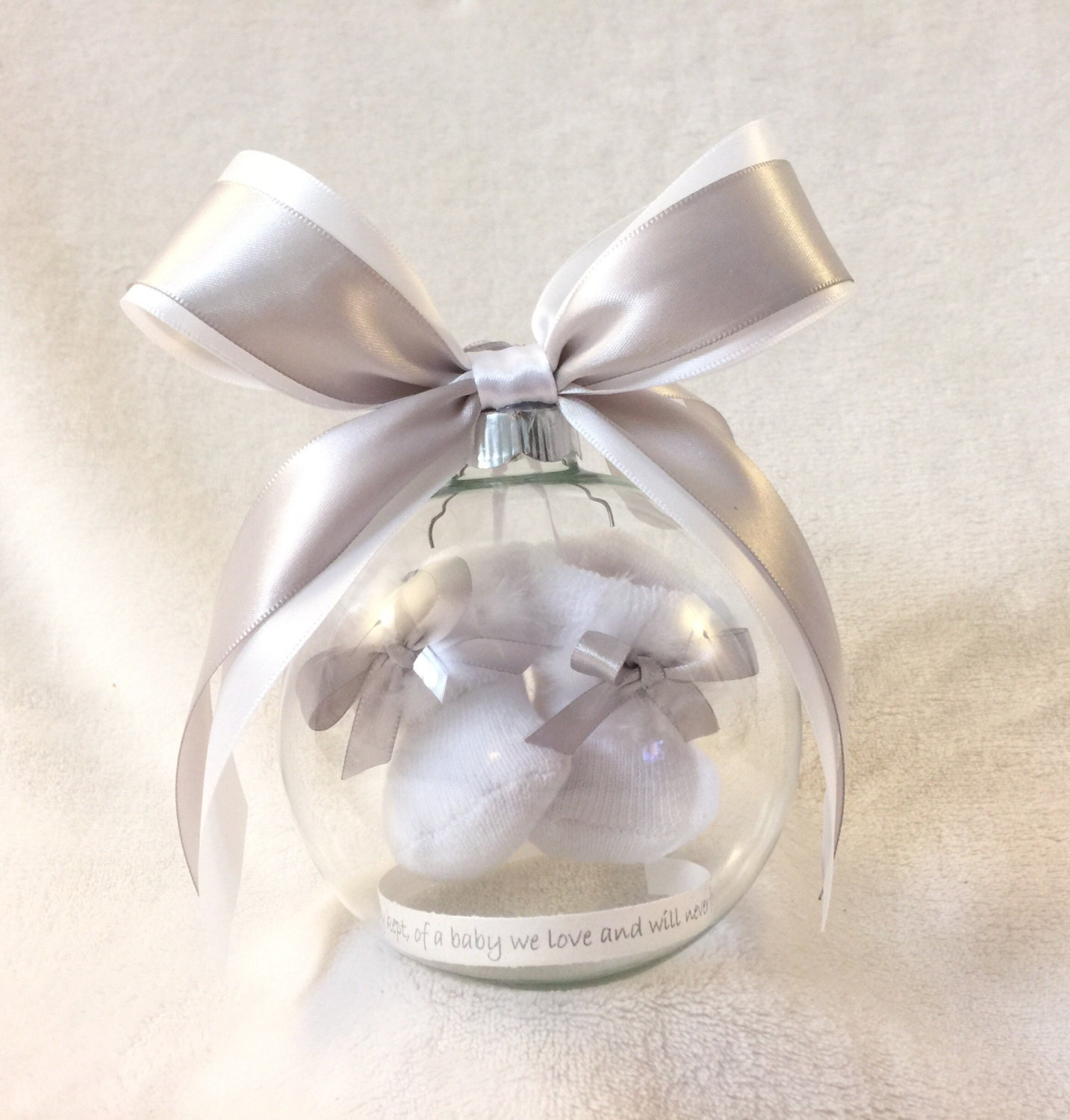 Baby ornament - Pregnancy Loss Miscarriage Ornament With Floating Baby Booties Angel Baby Memorial Ornament With Bible