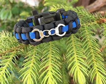 Thin Blue Line/Police Handcuff Bracelet